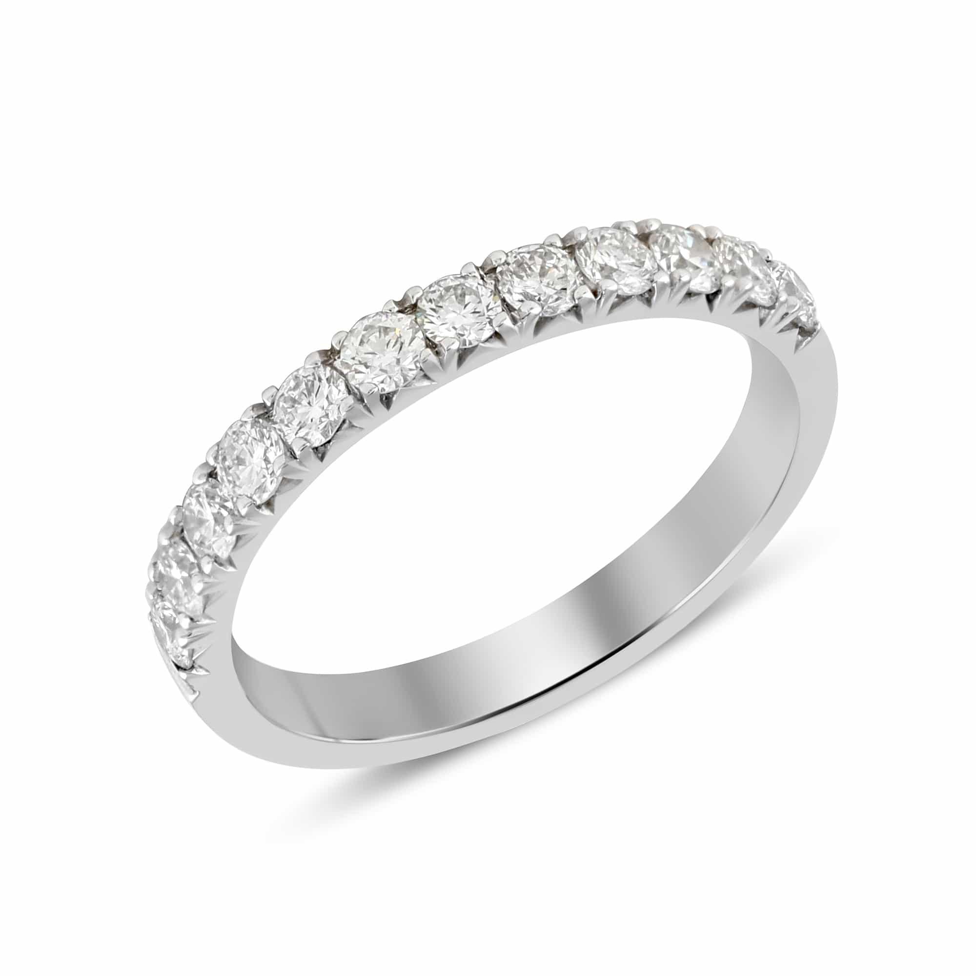 V Prong Half Eternity Diamond Ring in 18k White Gold (0.50 ct. tw.)