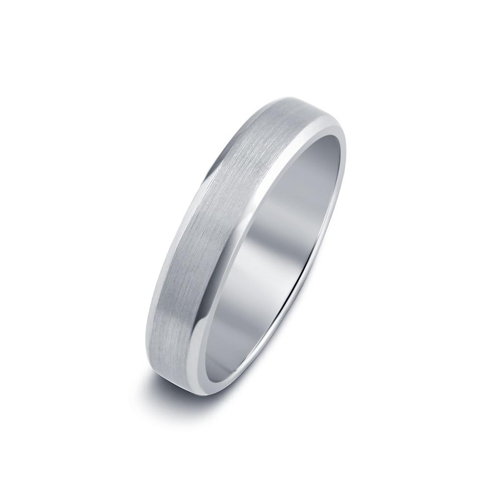 Beveled Edge Satin Finished Wedding Ring in 18K White Gold