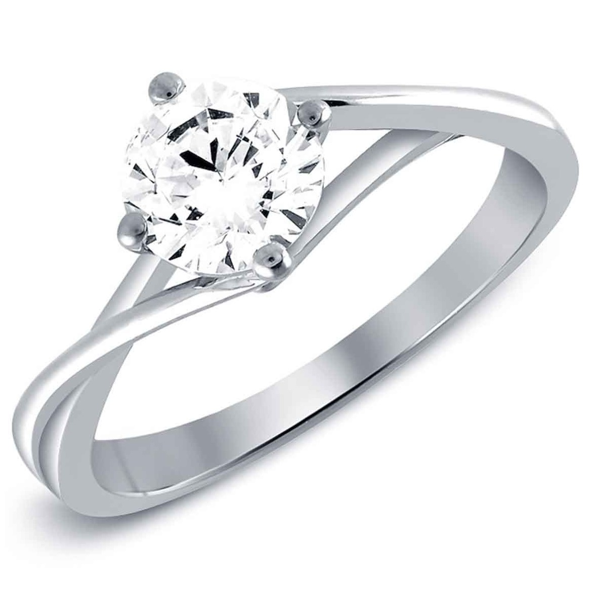 Twisted Plain Shank Engagement Ring in 18K White Gold