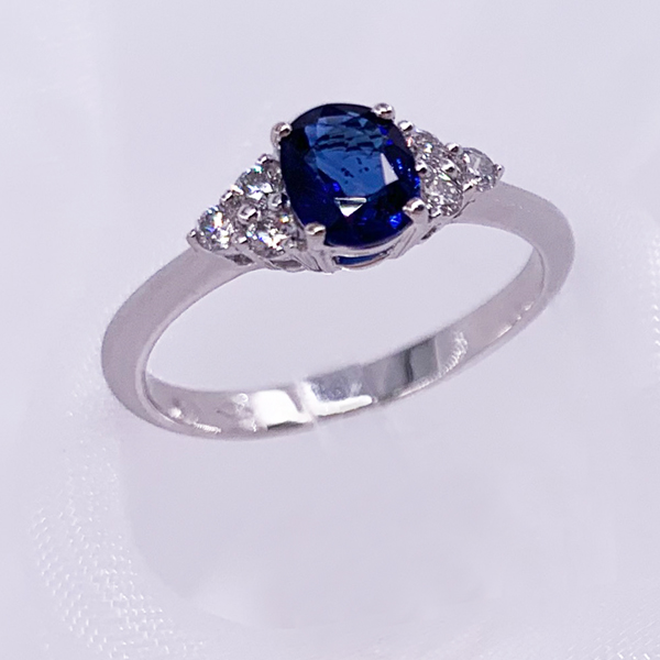 Blue Sapphire Gemstone With Side Diamond in 18k White Gold