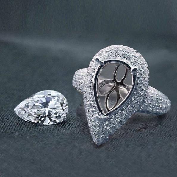 3ct Pear Shape Diamond Ring in 18k White Gold